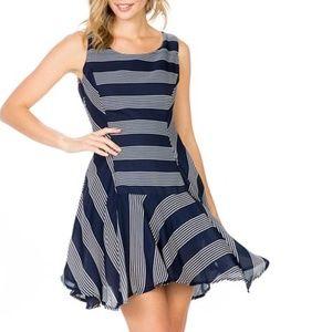 Sleeveless A-Line Dress, Navy & White Striped